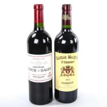 2 bottles of Bordeaux wine, 2008 Chateau Lynch Bages, Pauillac and 2014 Chateau Malescot St.Exuprey,