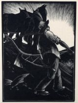 Clare Leighton (1898 - 1989), limited edition woodcut on paper, Turning The Plough, image 16.5cm x