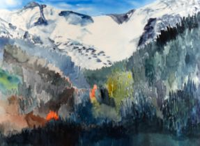 Janet Young (Canadian), watercolour, mountain landscape, 56cm x 76cm, framed Very good condition,