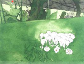 Valerie Daniel, coloured etching, crocus, signed, no. 25/100, image 34cm x 44cm, framed Very good