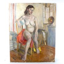 Geoffrey Underwood, oil on canvas laid on board, nude, signed and dated '52, 88cm x 28cm, unframed