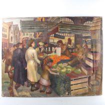 Mid-20th century British School, oil on canvas, London street market, unsigned, dated 1957?, 71cm