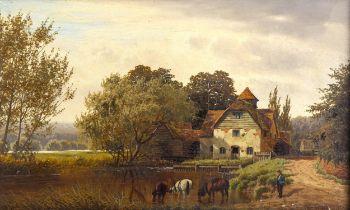 Henry Cheadle (1852 - 1910), oil on canvas, old farmstead, signed, 25cm x 41cm, framed Good