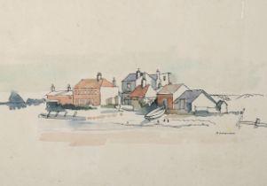 William Redgrave (1903 - 1986), watercolour, coastal village, signed, 20cm x 29cm, mounted A few