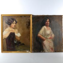 2 early 20th century oils on canvas, portraits of young women, unsigned, 58cm x 45cm, 1 framed