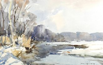Edward Wesson, watercolour, landscape, signed, 32cm x 50cm, framed Good condition, possibly very