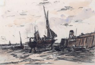 Attributed to Frank Boggs, watercolour/pencil sketch, boatyard scene, unsigned, inscribed verso