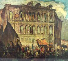 Frank Brangwyn, colour print, Venice, signed in pencil, image 48cm x 53cm, framed Very good