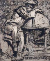 Frank Brangwyn, etching, Bernard Bergl, ex libris 1914, signed in pencil, plate 16cm x 13cm,