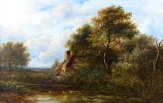 Circle of Joseph Thors, 19th century oil on canvas, a country cottage, indistinctly signed, dated