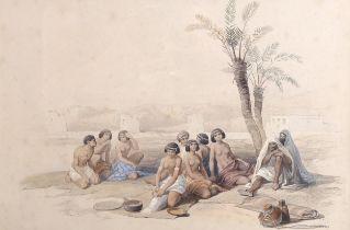 David Roberts, lithograph, Abyssinian slaves resting at Horta Nubia, image 23cm x 34cm, framed Light