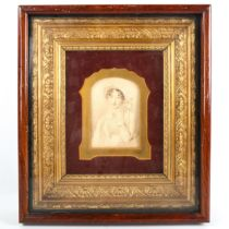 After Thomas Lawrence, 19th century lithograph, portrait of Lady Wellington, ornate gilt-gesso frame