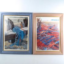 Annie Soudain, 2 colour prints, Hastings beach scenes, signed in pencil, image 52cm x 36cm,