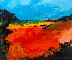 Jose Mckinnon, acrylic on board, sunny fields, signed, 24cm x 30cm, framed Very good condition