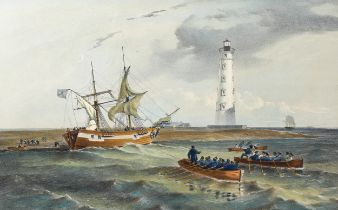William Simpson (1823 - 1899), hand coloured lithograph by T G Dutton, The Lighthouse at Cape