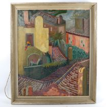 Mid-20th century oil on canvas, Continental rooftops, indistinctly signed, 61cm x 51cm, framed