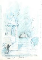 Sir Hugh Casson, colour print, stage set at Glyndebourne, signed in ink, from an edition of 400,