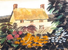 Robert Tavener, watercolour, cottage garden, signed with Exhibition label verso, 17cm x 22cm, framed