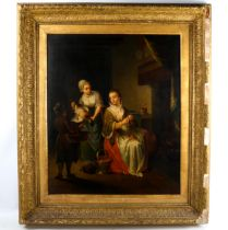 Louis Coulon of Antwerp, oil on canvas, kitchen interior scene, signed, 62cm x 51cm, framed Good