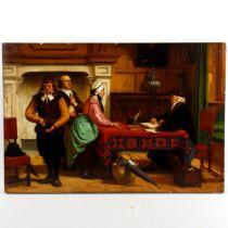 Joseph Tonneau, 19th century oil on wood panel, the debt collector, signed, 35cm x 51cm, unframed