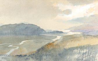Charles Knight, watercolour, Barmouth estuary, signed, 34cm x 54cm, framed A couple of very faint