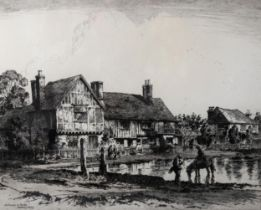 Albany Howarth (1872 - 1936), etching, old houses and stocks, Aldbury Herts, signed in pencil, image