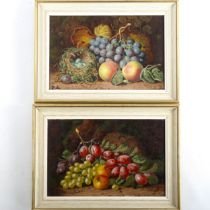 Charles Thomas Bale, pair of oils on canvas, still life studies, fruit and birds nests, signed, 20cm