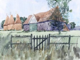 Robert Tavener, watercolour, oast and barn, signed, 35cm x 46cm, framed Very good condition,