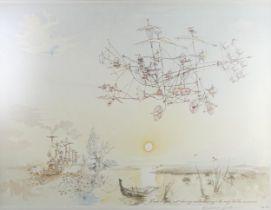 Rowland Emett (1906 - 1990), colour print, Dawn Flight, signed in pencil, no. 168/650, image 48cm