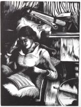 John Nash (1893 - 1977), limited edition woodcut on paper, Interior (with figure) The Musician 1925,