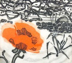 Susan Henderson, coloured etching, poppy in Westmorland, signed in pencil, no. 1/8, image 18cm x