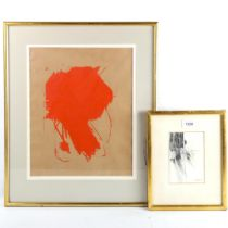 Jennifer Dickson, pencil drawing, crucifix 1961, 14cm x 9cm, and a mid-20th century red paint on