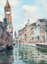 Vittore Zilla (1864 - 1946), watercolour, Venetian canal with gondolas, signed, 24cm x 18cm,