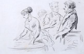 Attributed to Henri Monnier (1805 - 1877), pencil sketch, dining room scene, unsigned, 14.5cm x
