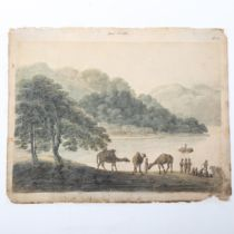 An early 19th century watercolour, camels and figures on a riverbank, unsigned, dated 1816, 15cm x