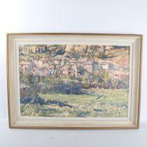 Geoffrey Lefever (born 1932), oil on board, Bellegarde landscape, signed, 50cm x 75cm, framed Good