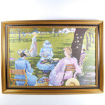 F Roosseau, contemporary oil on canvas, pointilist study, ladies in a park, signed, 60cm x 92cm,