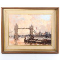 Sydney Foley, oil on board, Morning Light at Tower Bridge, signed with Exhibition label verso,