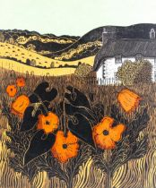 Robert Tavener, colour screen print, poppies and cottage, signed in pencil, no. 27/75, image 41cm
