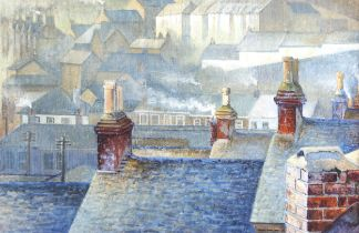 20th century watercolour, Newlyn rooftops, signed with initials MRC, dated '79, 15cm x 21cm,