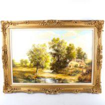 Wheeler, contemporary oil on canvas, rural landscape, signed, 50cm x 75cm, framed Very good
