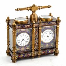 A reproduction champleve enamel and brass-cased double carriage clock and barometer desk