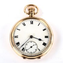 An early 20th century 9ct gold open-face and keyless-wind pocket watch, white enamel dial with Roman