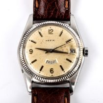 HEFIK - a Vintage stainless steel automatic wristwatch, silvered dial with quarterly Arabic