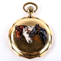 An Art Deco Continental 14ct gold enamel horses full hunter pocket watch, dodecagonal form, the