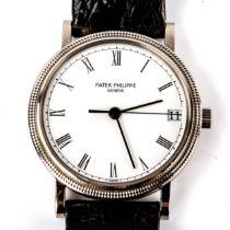 PATEK PHILIPPE - an 18ct white gold 'Hobnail' Calatrava automatic wristwatch, ref. 3802/200, white