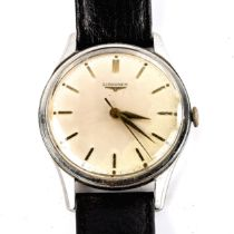 LONGINES - a Vintage stainless steel mechanical wristwatch, ref. 6995-1, circa 1960s, silvered