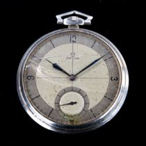 OMEGA - an Art Deco stainless steel open-face keyless-wind slimline pocket watch, silvered dial with