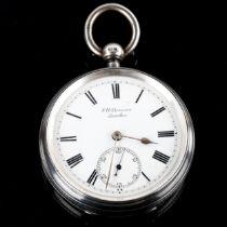 J W BENSON - a late 19th century silver-cased open-face key-wind pocket watch, white enamel dial