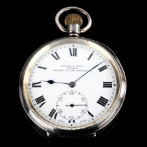 An early 20th century silver-cased open-face keyless-wind pocket watch, by Kendal & Dent of